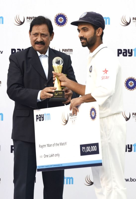 Indian batsman Ajinkya Rahane during the presentation ceremony after the Fourth and the final test match between India and South Africa at the Feroz Shah Kotla Stadium in New Delhi on Dec. ... - Ajinkya Rahane