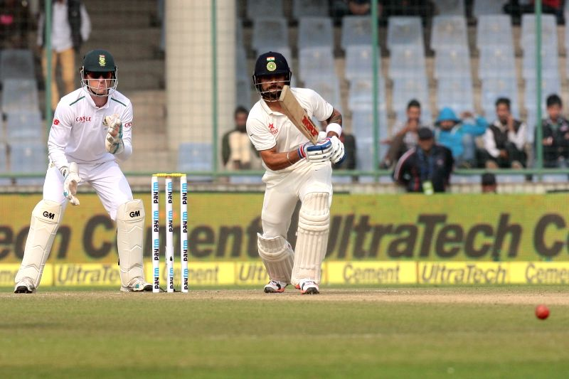 Indian batsman Ajinkya Rahane in action during the Fourth and the final test match between India and South Africa at the Feroz Shah Kotla Stadium in New Delhi on Dec. 3, 2015. - Ajinkya Rahane