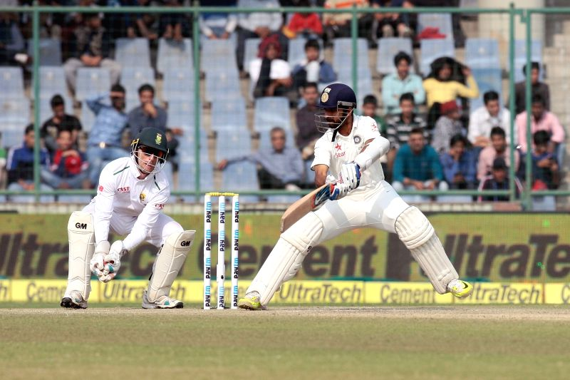 Indian batsman Ajinkya Rahane in action during the third day of the Fourth and the final test match between India and South Africa at the Feroz Shah Kotla Stadium in New Delhi on Dec. 5, ... - Ajinkya Rahane