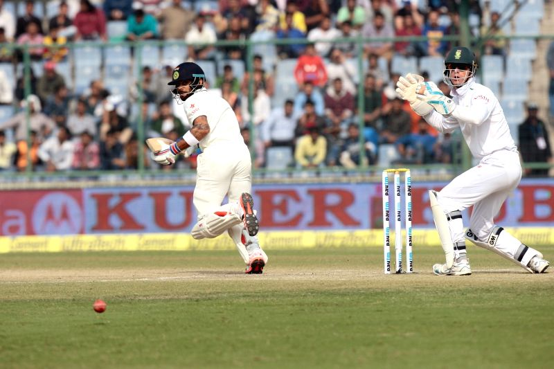 Indian batsman Virat Kohli in action during the third day of the Fourth and the final test match between India and South Africa at the Feroz Shah Kotla Stadium in New Delhi on Dec. 5, ... - Virat Kohli