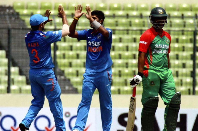 Indian bowler Umesh Yadav celebrates after getting the wicket of Tamim Iqbal of Bangladesh during the 1st ODI between India v/s Bangladesh at Shere Bangla National Stadium in Mirpur, Bangladesh on ... - Umesh Yadav