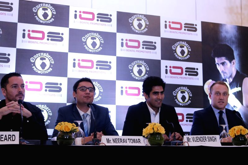 Indian boxer Vijender Singh during a press conference in New Delhi, on July 14, 2015.