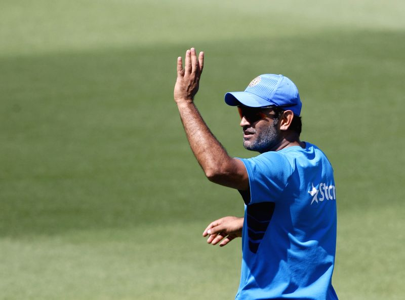 Indian captain M S Dhoni during a practice session at Melbourne Cricket Ground (MCG) ahead of an ICC World Cup 2015 match - scheduled to be held on 22nd Feb 2015 - against South Africa, in Melbourne, ... - M S Dhoni