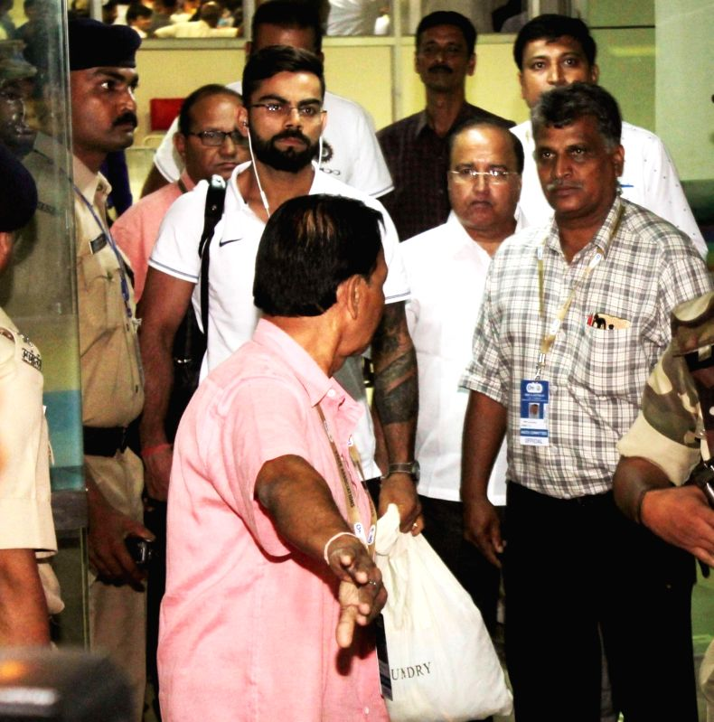 Indian captain Virat Kohli arrives at Dr. Babasaheb Ambedkar International Airport in Nagpur on Sept 29, 2017. - Virat Kohli