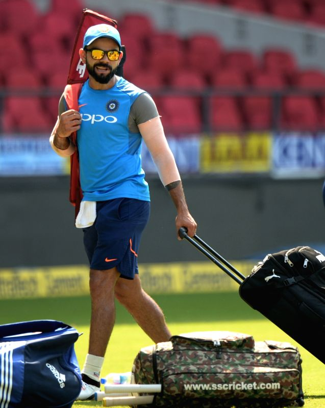 Indian captain Virat Kohli during a practice session ahead of the fifth ODI match against Australia in Nagpur, on Sept 30, 2017. - Virat Kohli