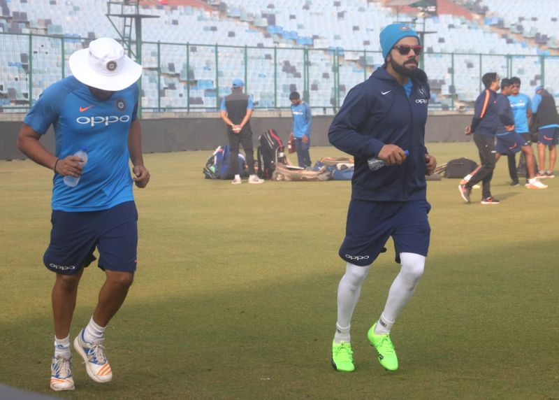 Indian captain Virat Kohli during a practice session ahead of the third test match against Sri Lanka that is scheduled to be held from 3rd December; in New Delhi on Dec 1, 2017. - Virat Kohli
