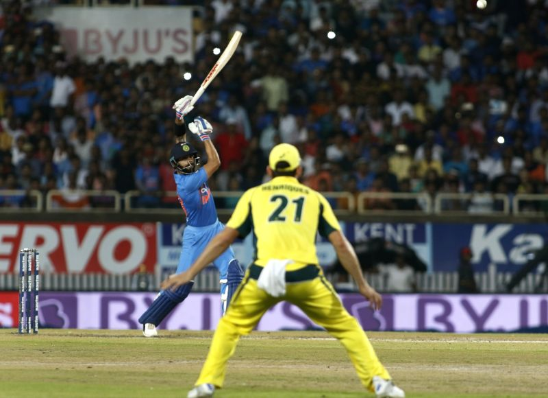 Indian captain Virat Kohli in action during the first T20 match between India and Australia at JSCA International Stadium in Ranchi on Oct 7, 2017. - Virat Kohli