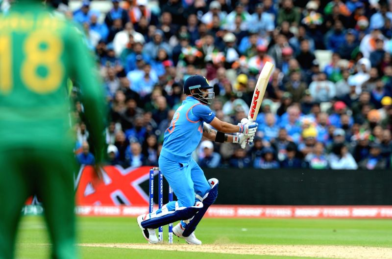 Indian captain Virat Kohli plays a shot during ICC Champions Trophy, Group B match between India and Pakistan at Edgbaston, Birmingham, UK on June 4, 2017. - Virat Kohli