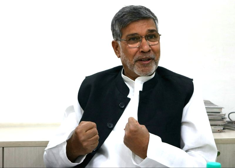 Indian children's rights Kailash Satyarthi during an interview at IANS Office. - Kailash Satyarthi