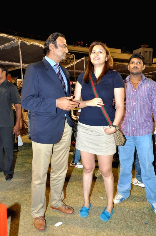 Indian commentator Charu Sharma with Indian badminton player Jwala Gutta at a Celebrity Cricket ...