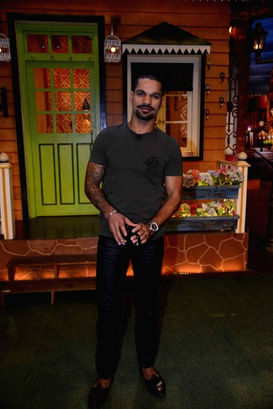 Indian cricket player Shikhar Dhawan on the sets of The Kapil Sharma Show in Mumbai, on May 23, 2017. - Shikhar Dhawan