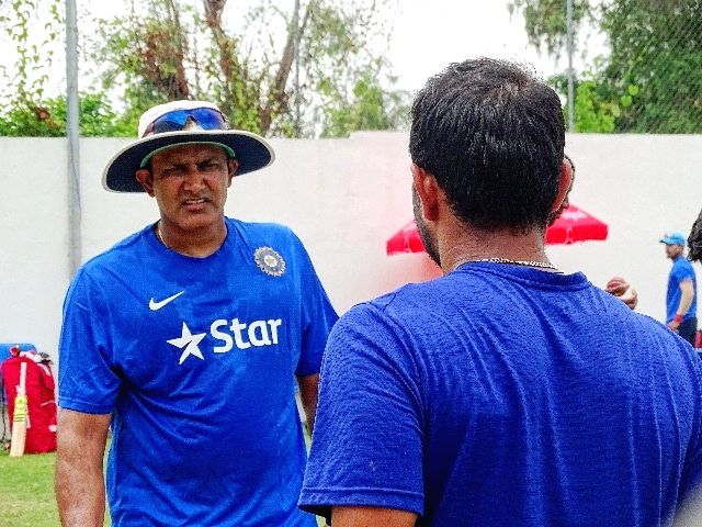 Indian cricket team head coach Anil Kumble during a practice session at Kingston, Jamaica July 31, 2016.