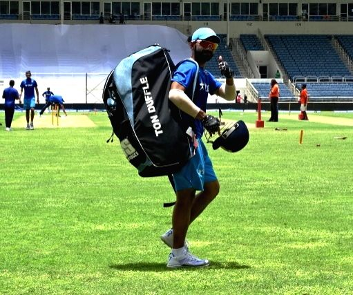 Indian cricketer Ajinkya Rahane during a practice session at Kingston, Jamaica July 31, 2016.