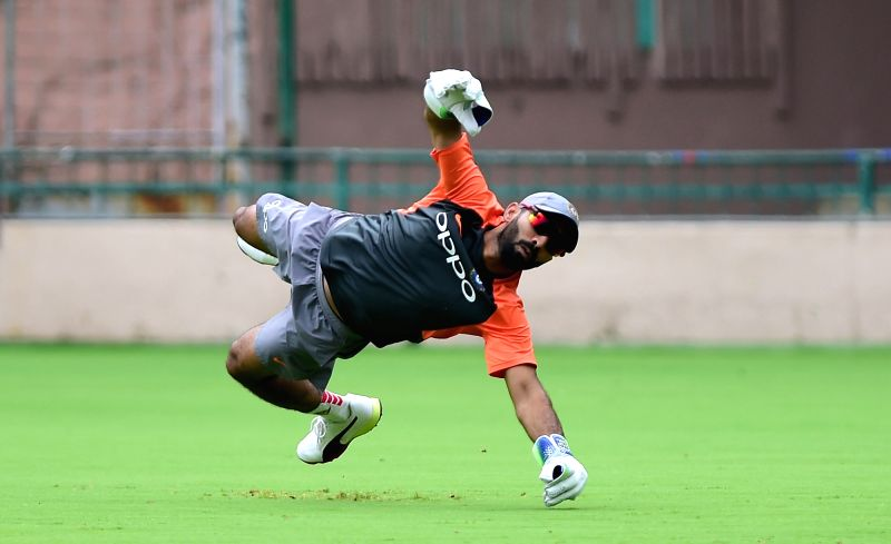 Indian cricketer Ajinkya Rahane during a practice session ahead of their maiden cricket test match against Afghanistan, in Bengaluru on June 11, 2018.