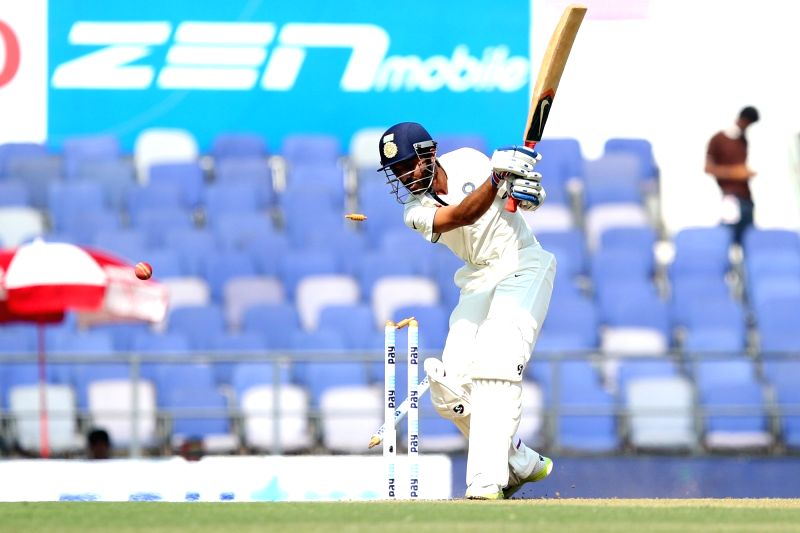 Indian cricketer Ajinkya Rahane gets dismissed during the Day-1 of the third test match between India and South Africa at Vidarbha Cricket Association Stadium in Nagpur  on Nov 25, 2015.