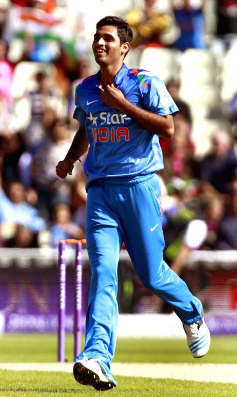 Indian cricketer Bhuvneshwar Kumar during 4th ODI match between England and India in Birmingham, England on Sept 2, 2014. - Bhuvneshwar Kumar
