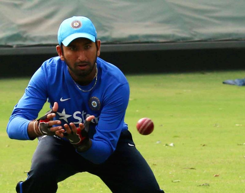 Indian cricketer Cheteshwar Pujara during a practice session ahead of the Fourth Test Match against India at Feroz Shah Kotla Ground in New Delhi on Dec 2, 2015.