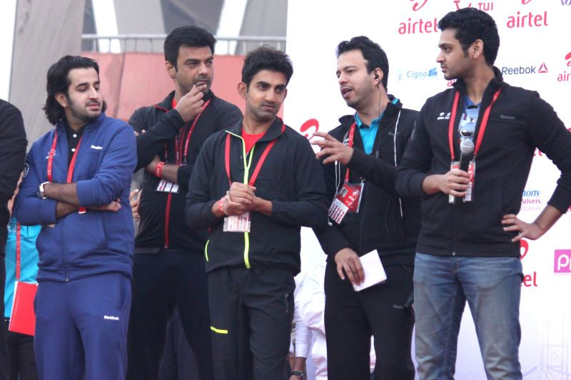 Indian cricketer Gautam Gambhir during Airtel Delhi Half Marathon at Jawaharlal Nehru Stadium in New Delhi on Nov 23, 2014.