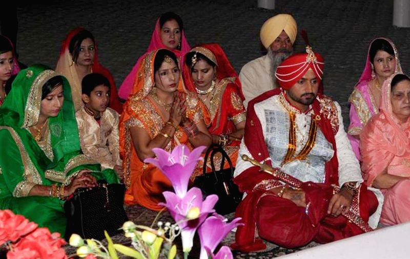 Indian cricketer Harbhajan Singh during his marriage ceremony in Jalandhar, on Oct 29, 2015.