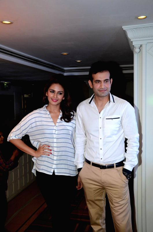 Indian cricketer Irfan Pathan and actor Huma Qureshi during a cooking competition held by Malaysian Palm Oil Council (MPOC) named Fun, Food Lifestyle in Mumbai, on June 27, 2014.