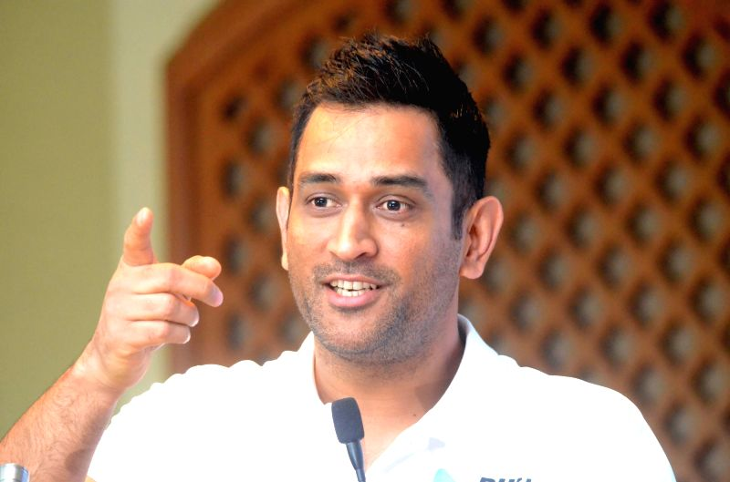 Indian cricketer M.S. Dhoni addresses at the launch of a 360 degree sports tech-ecosystem, in Mumbai, on Aug 7, 2018.