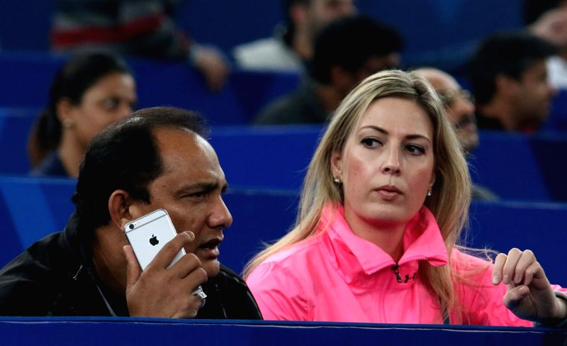 Indian cricketer Mohammad Azharuddin during an IPTL match between UAE Royals and Legendari Japan Warriors at Indira Gandhi Stadium in New Delhi. - Azharuddin and Indira Gandhi Stadium