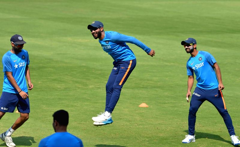 Indian cricketer Ravindra Jadeja during a practice session ahead of the only test match against Bangladesh in Hyderabad on Feb 7, 2017. - Ravindra Jadeja