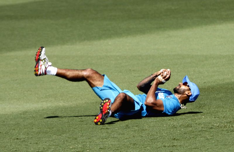 Indian cricketer Ravindra Jadeja in action during a practice session at Melbourne Cricket Ground (MCG) ahead of an ICC World Cup 2015 match - scheduled to be held on 22nd Feb 2015 - against South ... - Ravindra Jadeja