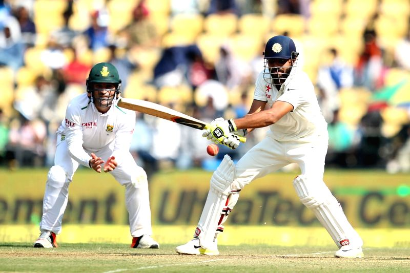 Indian cricketer Ravindra Jadeja in action during the Day-1 of the third test match between India and South Africa at Vidarbha Cricket Association Stadium in Nagpur  on Nov 25, 2015. - Ravindra Jadeja