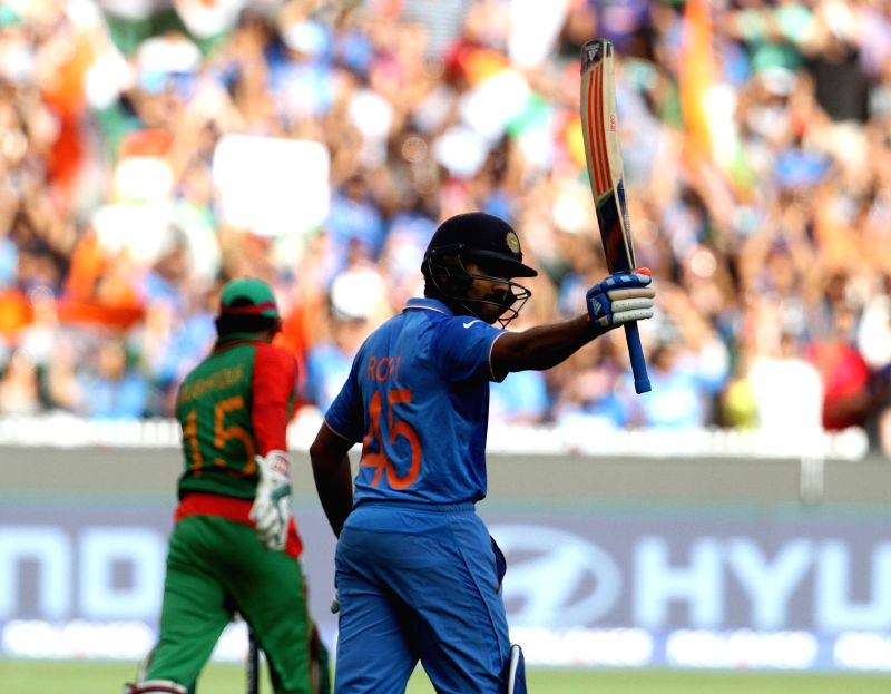 Indian cricketer Rohit Sharma during the ICC World Cup - 2015 quarter final match between India and Bangladesh at Melbourne Cricket Ground in Australia on March 19, 2015. - Rohit Sharma