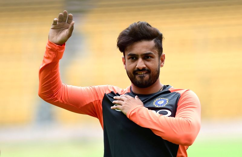 Indian cricketer Shardul Thakur during a practice session ahead of their maiden cricket test match against Afghanistan, in Bengaluru on June 11, 2018.