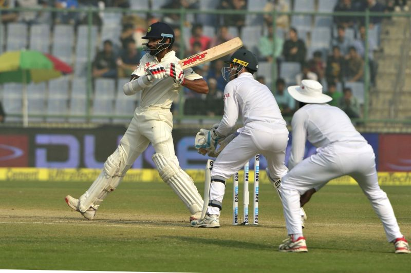 Indian cricketer Shikhar Dhawan in action during fourth and final cricket test match against South Africa at the Feroz Shah Kotla Stadium in Delhi on Dec. 5, 2015. - Shikhar Dhawan