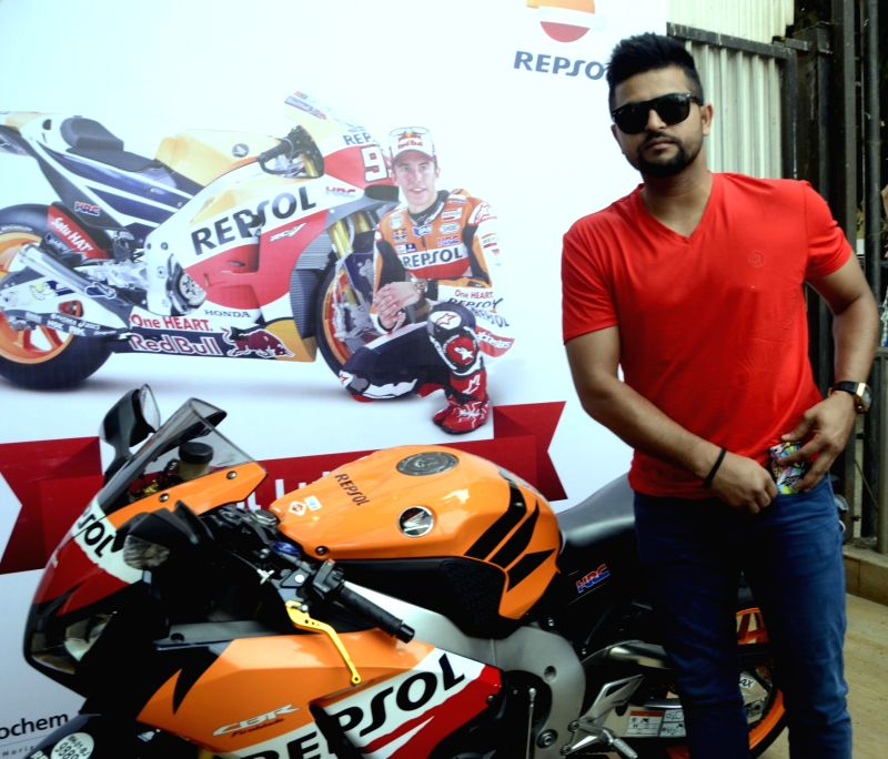 Indian cricketer Suresh Raina during a Gulf Petroleum programme in Mumbai, on April 5, 2016.