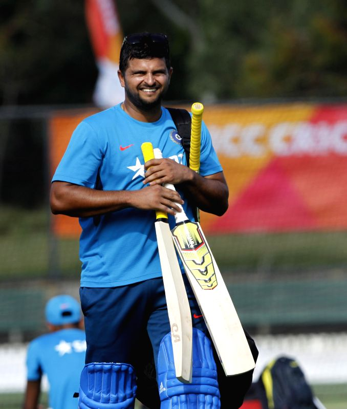 Indian cricketer Suresh Raina during a practice session at Melbourne Cricket Ground (MCG) ahead of an ICC World Cup 2015 match - scheduled to be held on 22nd Feb 2015 - against South Africa, in ...