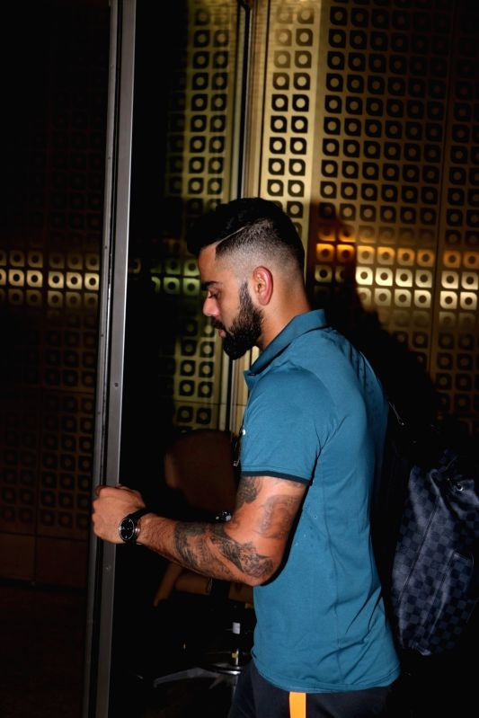 Indian cricketer Virat Kohli ​ ​ ​departs​ ​  for England for ICC Champions Trophy 2017​ from Mumbai​ on May 25, 2017. - Virat Kohli