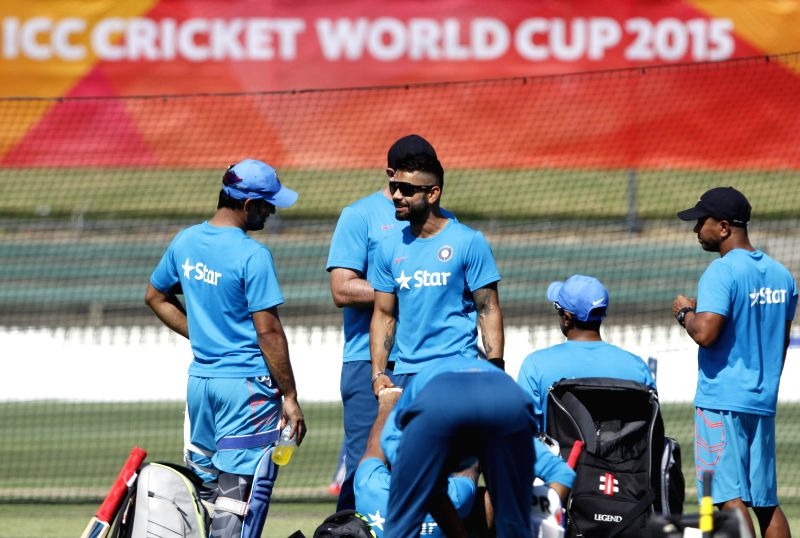 Indian cricketer Virat Kohli during a practice session at Melbourne Cricket Ground (MCG) ahead of an ICC World Cup 2015 match - scheduled to be held on 22nd Feb 2015 - against South Africa, in ... - Virat Kohli