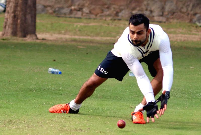Indian cricketer Virat Kohli  during a practice session ahead of the Fourth Test Match against India at Feroz Shah Kotla Ground in New Delhi on Dec 2, 2015. - Virat Kohli