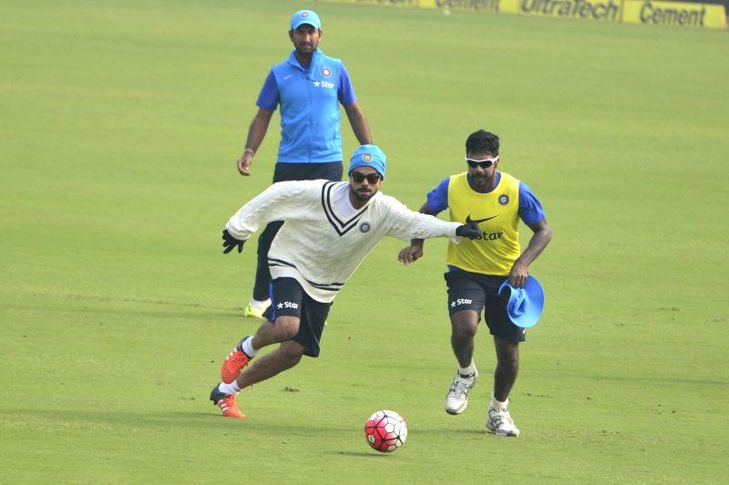 Indian cricketer Virat Kohli  during a practice session ahead of the Fourth Test Match against South Africa at Feroz Shah Kotla Ground in New Delhi on Dec 2, 2015. - Virat Kohli
