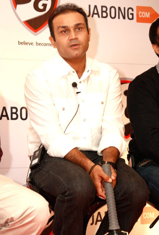 Indian cricketer Virender Sehwag launches V319, a cricket bat collection by SG exclusively retailed through Jabong.com, in New Delhi.