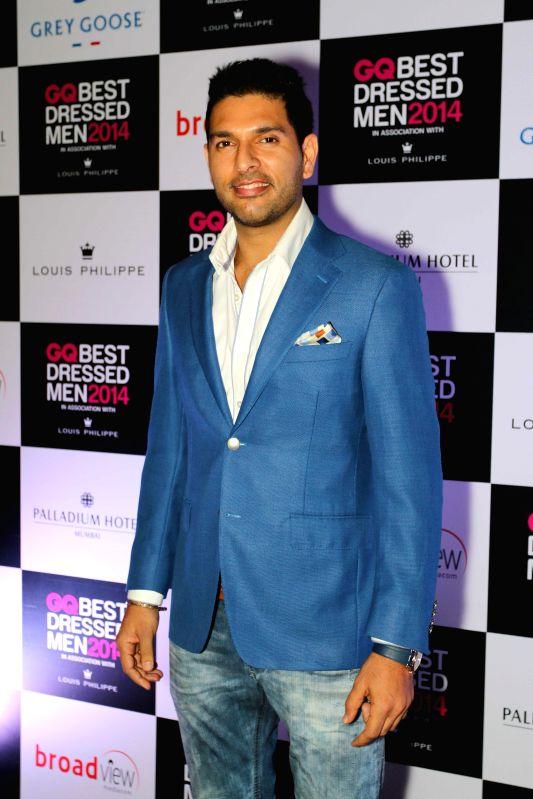 Indian Cricketer Yuvraj Singh during GQ Best Dressed Men 2014 awards at Palladium Hotel in Mumbai. - Cricketer Yuvraj Singh