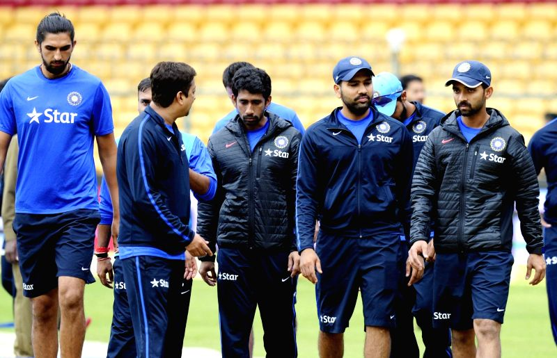 Indian cricketers at M Chinnaswamy Stadium in Bengaluru, on Nov 18, 2015. The second test match between India and South Africa has been called off due to bad weather.