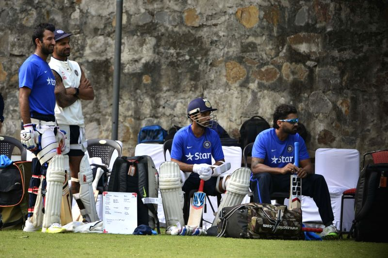 Indian cricketers during a practice session ahead of the Fourth Test Match against South Africa at Feroz Shah Kotla Ground in New Delhi on Dec 2, 2015.