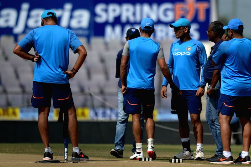 Indian cricketers during a practice session ahead of the fifth ODI match against Australia in Nagpur, on Sept 30, 2017.
