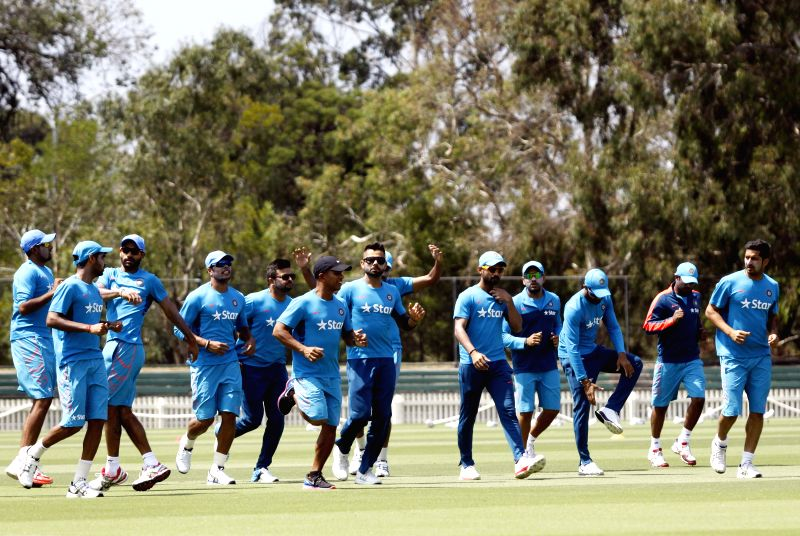 Indian cricketers during a practice session at Melbourne Cricket Ground (MCG) ahead of an ICC World Cup 2015 match - scheduled to be held on 22nd Feb 2015 - against South Africa, in Melbourne, ...