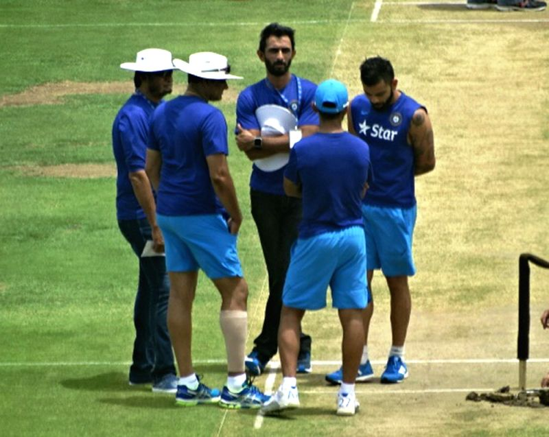 Indian cricketers during a practice sessions at Sir Vivian Richards Stadium in Antigua on July 21, 2016.