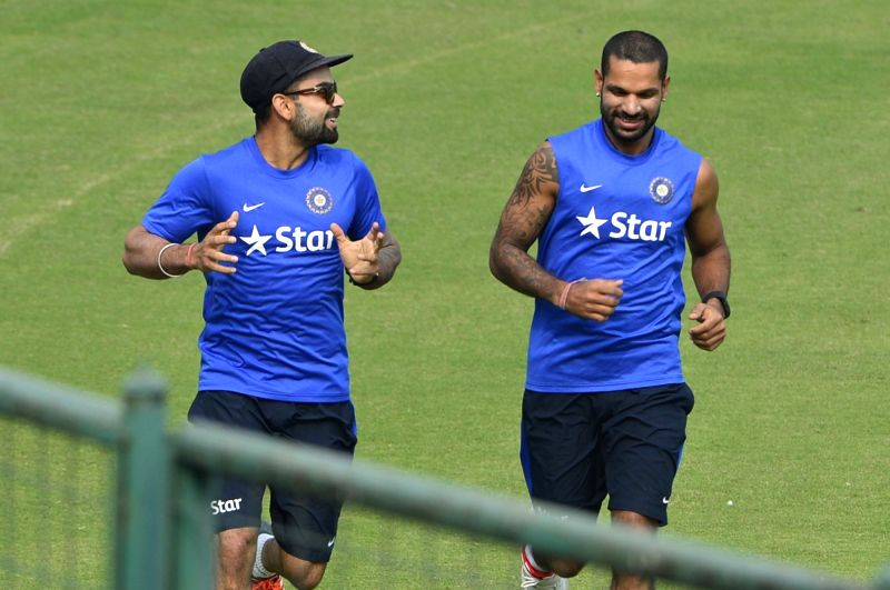 Indian cricketers during practice session ahead of the Fourth Test Match against South Africa at Feroz Shah Kotla Ground in New Delhi on Dec 1, 2015.