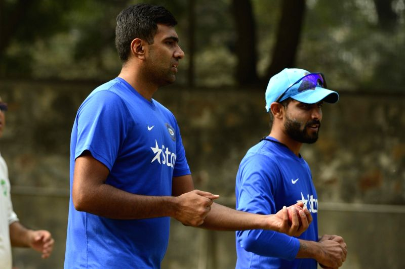 Indian cricketers  Ravichandran Ashwin and Ravindra Jadeja during a practice session ahead of the Fourth Test Match against South Africa at Feroz Shah Kotla Ground in New Delhi on Dec 2, ... - Ravindra Jadeja