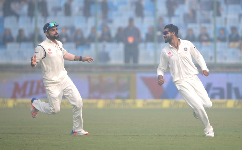 Indian cricketers Virat Kohli and Ravindra Jadeja celebrate after winning the Fourth and the final test match between India and South Africa at the Feroz Shah Kotla Stadium in New Delhi on ... - Virat Kohli and Ravindra Jadeja