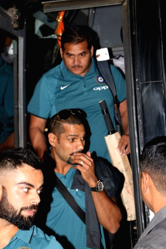Indian cricketers Virat Kohli and Shikhar Dhawan ​ ​ ​ depart for England for ICC Champions Trophy 2017​ from Mumbai​ on May 25, 2017. - Shikhar Dhawan and Virat Kohli