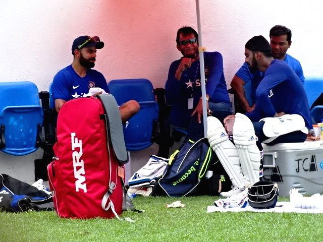 Indian cricketers Virat Kohli, Lokesh Rahul and Lokesh Rahul during a practice session at Kingston, Jamaica July 31, 2016. - Virat Kohli and Lokesh Rahul